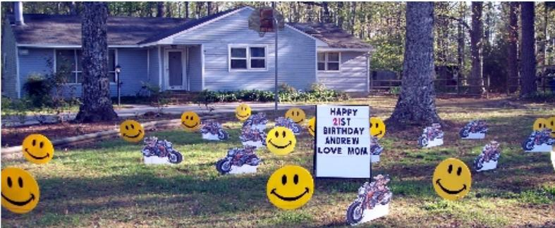 Motorcycles and Smileys Yard Card
